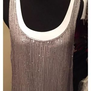 J Crew NEW Sequined Striped Tank Size 6